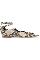 Sandro Lace Up Snake Effect Leather Sandals Multi