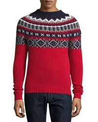 Moncler Fair Isle Crewneck Sweater Red Multi