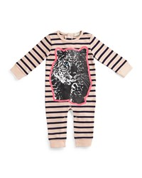 Stella Mccartney Dewberry Striped Leopard Graphic Coverall Pink Navy Size 6 24 Months Size 9 Months