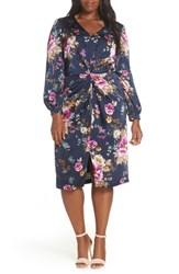 Maggy London Floral Charmeuse Dress Navy Mulberry