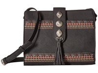 American West Del Rio Zip Top Crossbody Black Cross Body Handbags