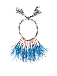 Etro Stone And Feather Embellished Self Tie Necklace Green Multi