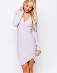 Ax Paris Long Sleeve Wrap Pencil Dress Lilac Purple