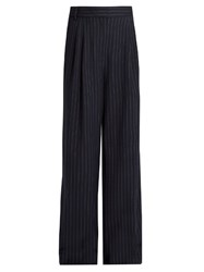 Tibi Delmont Striped Wide Leg Trousers Navy