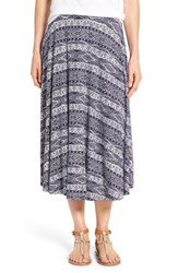 Caslon Petite Women's Stretch Knit Midi Skirt Navy White Print