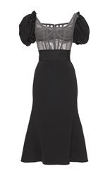 Dolce And Gabbana Constructed Tulle Combo Dress Black