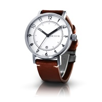 Bravur Watches Steel Case White Face And Brown Strap White Brown Silver