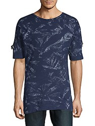 American Stitch Printed Cotton Tee Blue