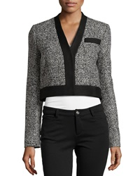 Philosophy Di Alberta Ferretti Contrast Trim Crop Jacket Black Multi