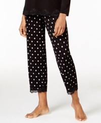 Alfani Lace Trimmed Dotted Cropped Pajama Pants Only At Macy's Black Pin Dot