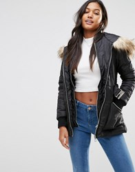 Lipsy Michelle Keegan Loves Quilted Coat With Faux Fur Hood Black