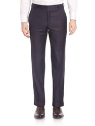 Hickey Freeman Flat Front Wool Trousers Navy