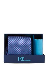 Ike Behar Box Neat Silk Tie And Handkerchief Purple