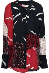 Joie Printed Silk Chiffon And Crepe De Chine Blouse Black