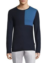 Strellson Colorblock Merino Wool Blend Sweater Navy