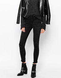 Waven Classic Skinny Jeans With All Over Rips And Patchwork Detail Charcoalblack