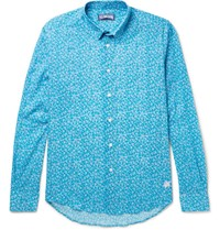 Vilebrequin Turtle Print Cotton Shirt Teal