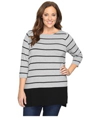 Vince Camuto Plus Size Long Sleeve Chiffon Hem Stripe Duet Top Light Heather Grey Women's Clothing Silver