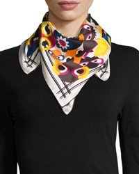 Fendi Silk Square Monster Scarf White Multicolor Multi Colors