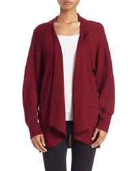 Lord And Taylor Long Sleeve Open Front Cardigan Cabernet