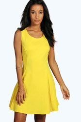 Boohoo Seam Detail Skater Dress Yellow