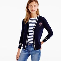 J.Crew V Neck Cardigan Sweater With Floral Patch