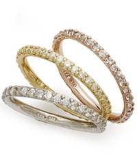 B. Brilliant Tri Tone Rings Set Set Of 3 Cubic Zirconia Stackable Rings 2 1 5 Ct. T.W.