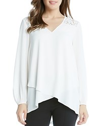 Karen Kane Lace Shoulder Faux Wrap Blouse Cream