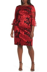 Alex Evenings Embroidered Lace Shift Dress Black Red