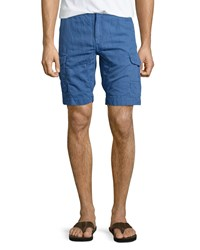 Robert Graham Hiker Linen Cotton Cargo Shorts Navy