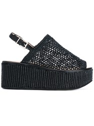 Robert Clergerie Crochet Mesh Sandals Women Cotton Leather Rubber 41 Black