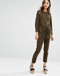 Warehouse Pleat Jumpsuit Khaki Green