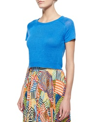 Alice Olivia Helen Short Sleeve Knit Cropped Sweater