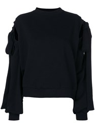 Ioana Ciolacu Sweater With Tie Sleeves Women Cotton Polyester M Black