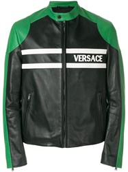 Versace Logo Print Leather Jacket Cotton Lamb Skin Cupro Black