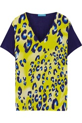 Matthew Williamson Printed Silk And Jersey Top Yellow