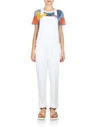 Stella Mccartney Skinny Boyfriend Dungaree Denim Overalls White