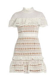 Self Portrait Ruffled Yoke Lace Dress White