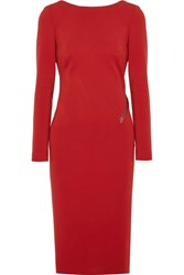 Tom Ford Open Back Zip Detailed Stretch Jersey Dress Red