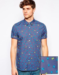 Asos Shirt In Short Sleeve With Cat Face Print Blue