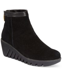 Cougar Bang Suede Wedge Booties Women's Shoes Black