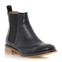 Dune Quentin Leather Brogue Chelsea Boot Black Leather