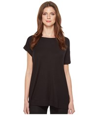 Heather Asymmetrical Sleeved Rib Box Tee Black Women's T Shirt