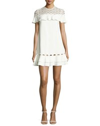 Jonathan Simkhai Rope Short Sleeve Ruffle Dress White