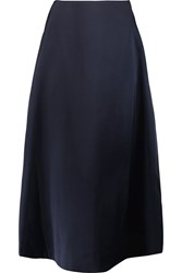 Marni Chiffon Paneled Satin Midi Skirt Blue