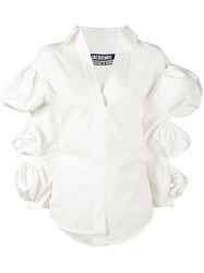 Jacquemus Blouse With Cropped Bubble Sleeves Women Cotton 38 White