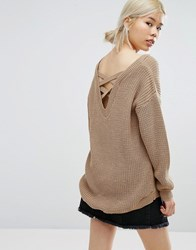 Daisy Street Oversized Sweater With Strap Back Detail Beige