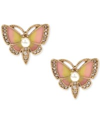Betsey Johnson Gold Tone Multi Stone Butterfly Stud Earrings
