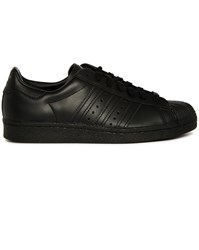 Adidas Black Superstar 80S Mono Leather Sneakers