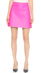 Victoria Beckham Leather A Line Skirt Neon Pink